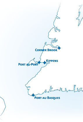 Map showing Port au Port's proximity to Kippens Corner Brook and Port au Basques,